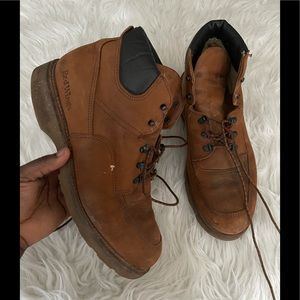Red wings vtg 1970s work lace up boots